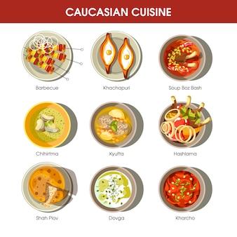 Culinária caucasiano conjunto com pratos tradicionais.