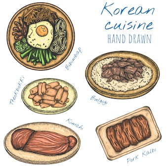 Culinária coreana vários alimentos mão ilustrações desenhadas, conjunto esboçado isolado.