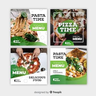 Culinária instagram post definido com foto