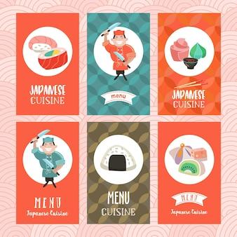 Culinária japonesa. um conjunto de modelos do cardápio de um restaurante japonês.