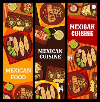 Culinária mexicana, pratos e bebidas em restaurante