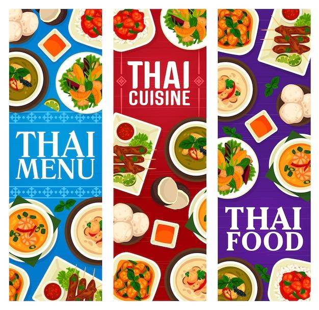 Culinária tailandesa, pratos tradicionais, banners de refeição