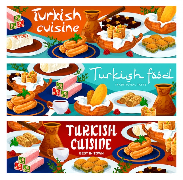 Culinária turca menu de sobremesas e doces