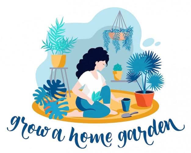 Cultive uma horta. plantas de cultivo de menina. jardim em casa no apartamento, estufa. atividades de quarentena, inscrições e outros elementos. coisas para fazer em casa. ilustração.