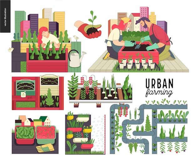 Cultivo urbano e conjunto de jardinagem