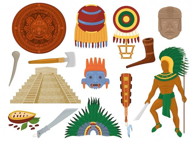 Cultura antiga mexicana asteca no méxico e personagem de homem maia do conjunto de ilustração da civilização maia da pirâmide étnica tradicional e símbolo de decoração ritual isolado no fundo branco