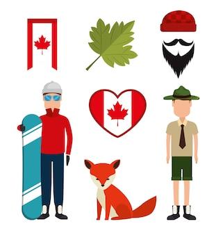 Cultura canadense conjunto de ícones ilustração vetorial design