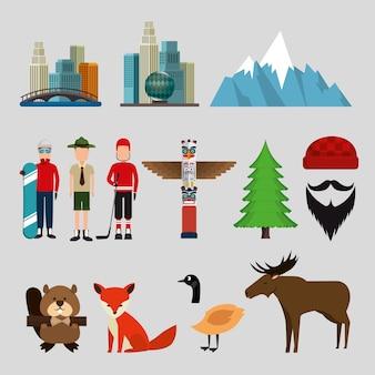 Cultura canadense conjunto de ícones ilustração vetorial design Vetor Premium