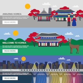 Cultura coreana 3 bandeiras planas set