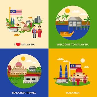 Cultura da malásia 4 ícones quadrados plana