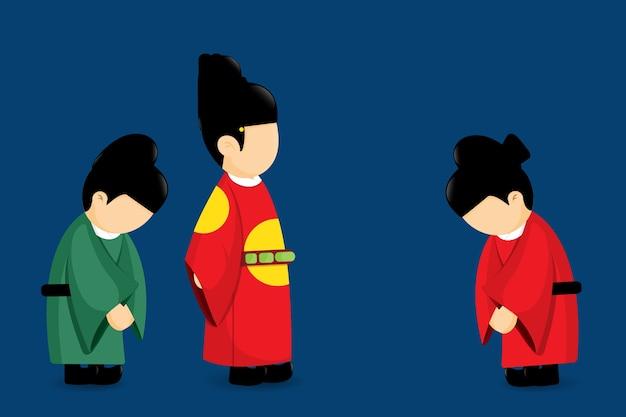 Cultura da tradição do projeto dos desenhos animados do vetor de coreia.