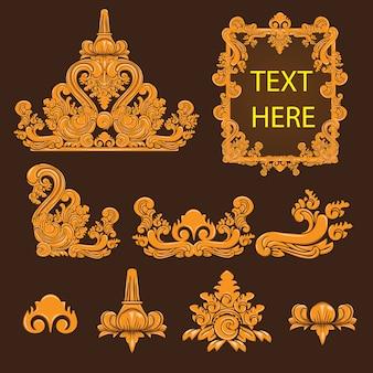 Cultura de bali e coleção de design de elementos decorativos tradicionais