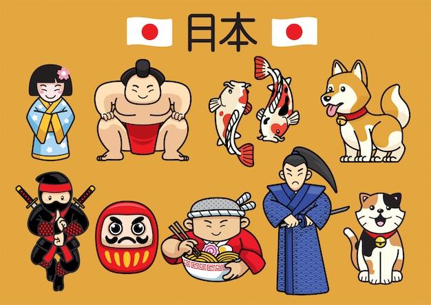 Cultura de caracteres do japão em conjunto