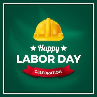 Cultura de democracia do dia internacional dos trabalhadores do dia do trabalho com capacete amarelo de segurança com fundo verde.