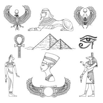 Cultura de símbolos do egito, personagem de ícone, pirâmide antiga, ilustração vetorial