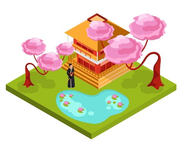 Cultura do japão arquitetura tradicional religião composições isométricas com monge em frente ao templo sob a flor de cerejeira