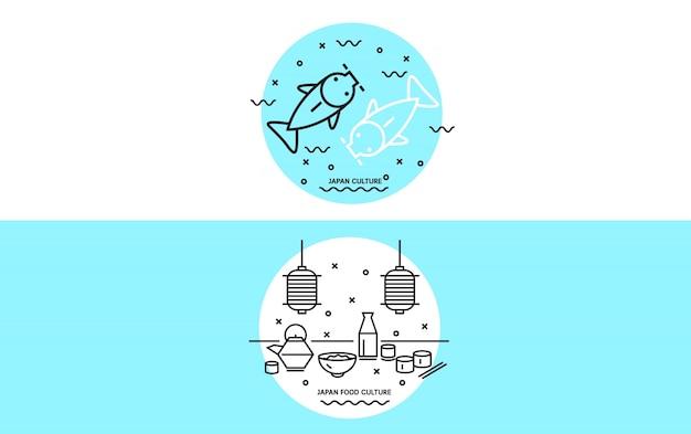 Cultura do japão e bandeira de alimentos. banner criativo para páginas web e publicidade. ícones de linha fina e plana