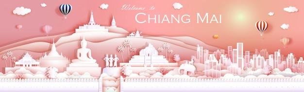 Cultura do marco do curso chiangmai tailândia com templo