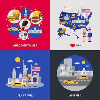 Cultura dos eua 4 ícones lisos quadrados