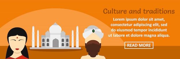 Cultura e tradições da índia banner modelo horizontal conceito