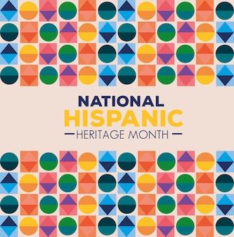 Cultura hispânica e latino-americana, mês da herança hispânica nacional com figuras geométricas de cores diferentes