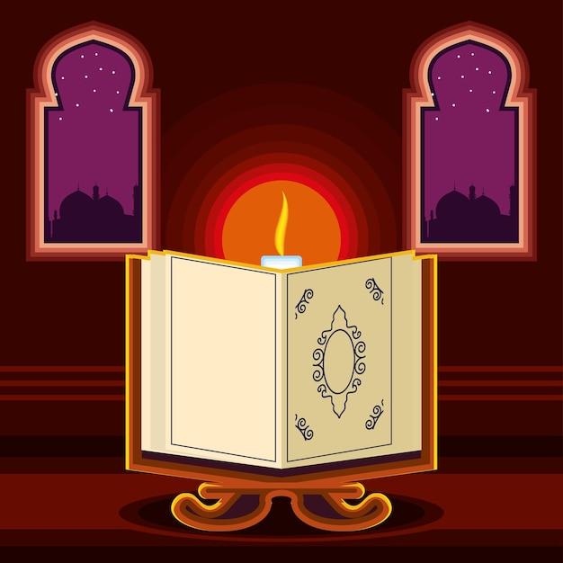 Cultura islâmica do alcorão da vela do templo