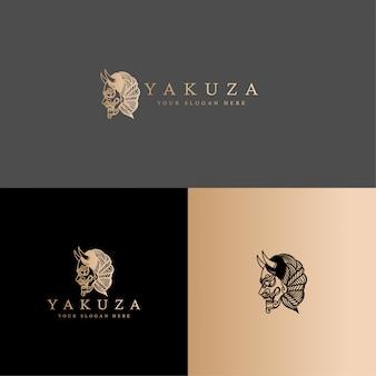 Cultura japão máscara oni logotipo linha arte modelo editável