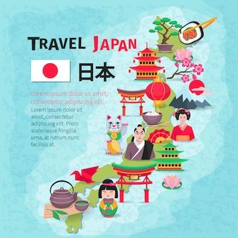 Cultura japonesa e símbolos nacionais com mapa do país e bandeira para viajantes plana resumo de cartaz
