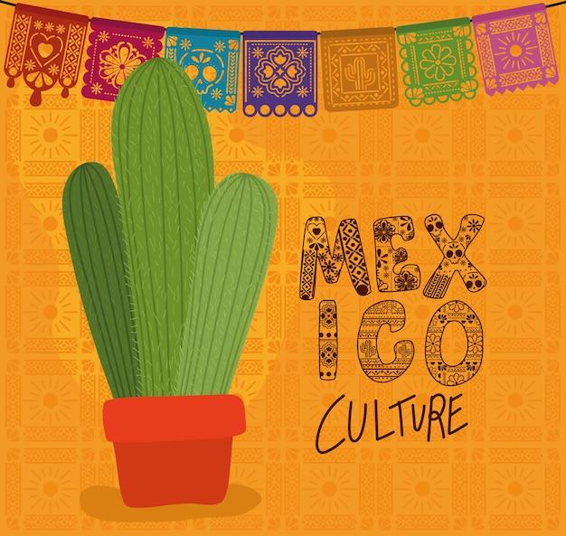 Cultura mexicana com desenho de cactos, tema turístico mexicano