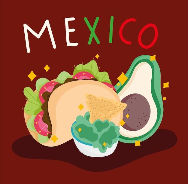 Cultura mexicana comida abacate taco guacamole ilustração nachos