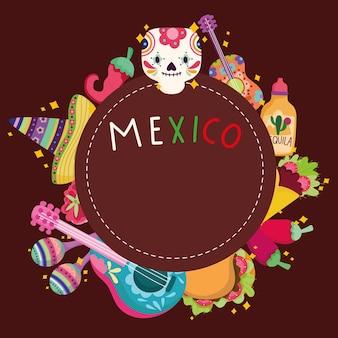 Cultura mexicana festiva tradicional caveira chapéu guitarra cacto comida ilustração rótulo tequila