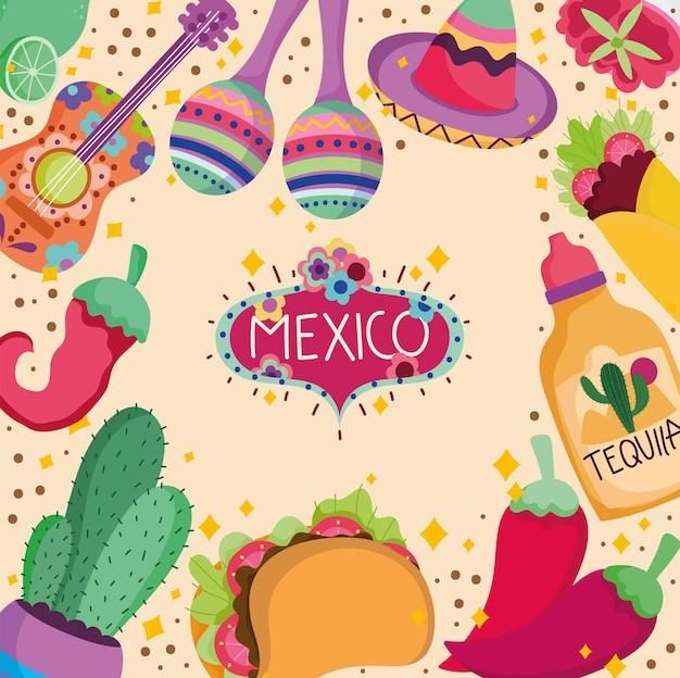 Cultura mexicana tequila comida tradicional guitarra maraca cacto decoração ilustração de fundo
