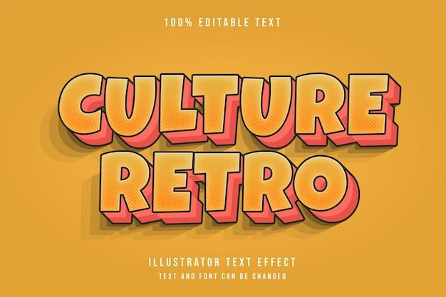 Cultura retro, efeito de texto editável em 3d, gradação de amarelo e laranja estilo de texto retro