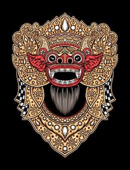 Cultura tradicional de barong bali. vetor premium