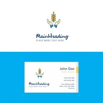 Culturas planas nas mãos logotipo e modelo de cartão de visita. logotipo da busienss