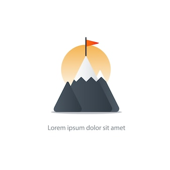 Cume da montanha com ilustração da bandeira