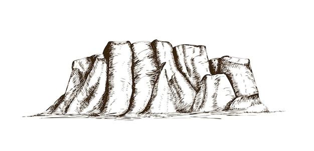 Cume de montanha ou marco natural desenhado à mão em estilo vintage de gravura