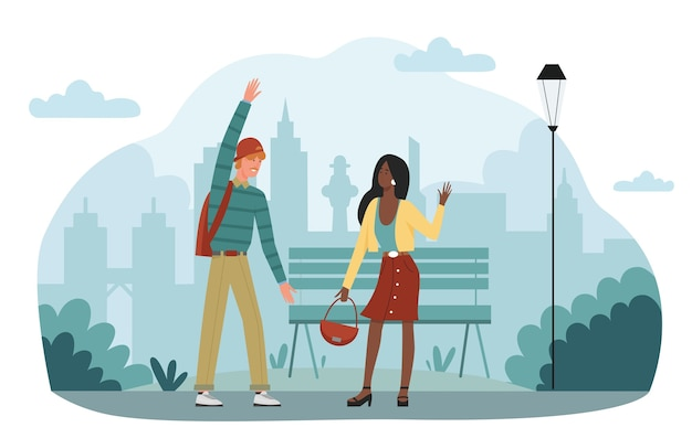 Cumprimentar um casal ou amigos na rua ou no parque da cidade