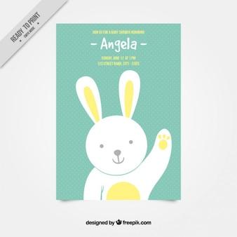 Cumprimento agradável coelho cartão do chuveiro de bebê