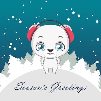 Cumprimento bonito do natal do urso polar
