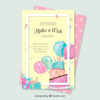 Cumprimento de aniversário de aguarela com bolo e balões