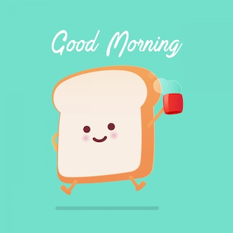 Cumprimento do bom dia em desenhos animados brindados do pão contra o fundo verde.