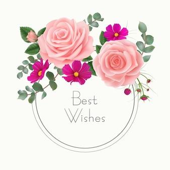 Cumprimentos cartão floral com rosas rosa cosmos roxo flores folhas de eucalipto