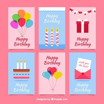 Cumprimentos de aniversário com conjunto de elementos