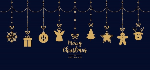 Cumprimentos de natal ornamento dourado elementos pendurados fundo azul