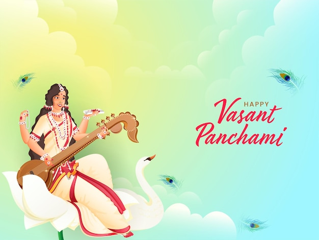 Cumprimentos de vasant panchami em texto hindi com escultura da deusa saraswati, pássaro cisne
