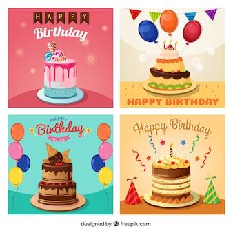 Cumprimentos do aniversário embalar com bolo delicioso