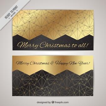 Cumprimentos do natal douradas geométricas