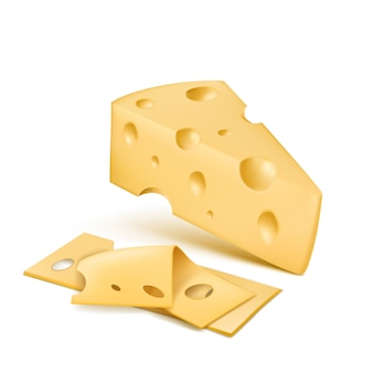 Cunha de queijo emmental com fatias finas. produto orgânico fresco suíço, italiano lácteo