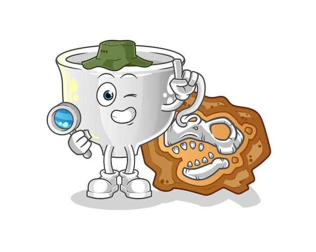 Cup arqueólogos com mascote de fósseis de dinossauros. mascote mascote dos desenhos animados